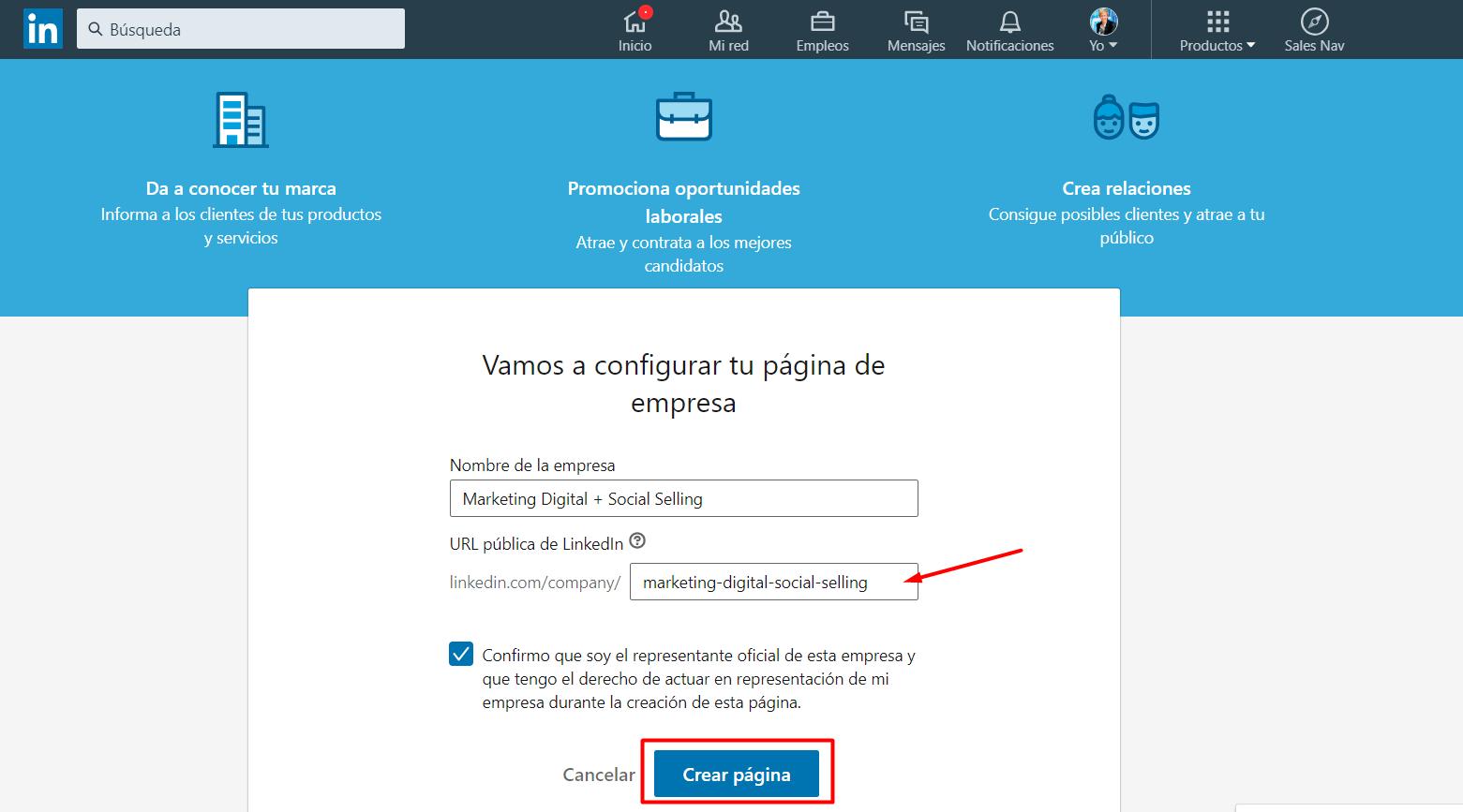 crear pagina de LinkedIn para empresas paso 2
