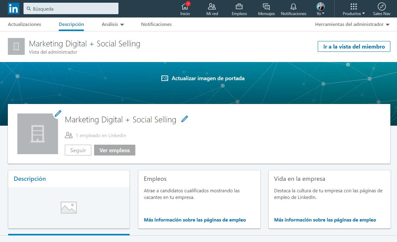 crear pagina de LinkedIn para empresas paso 3