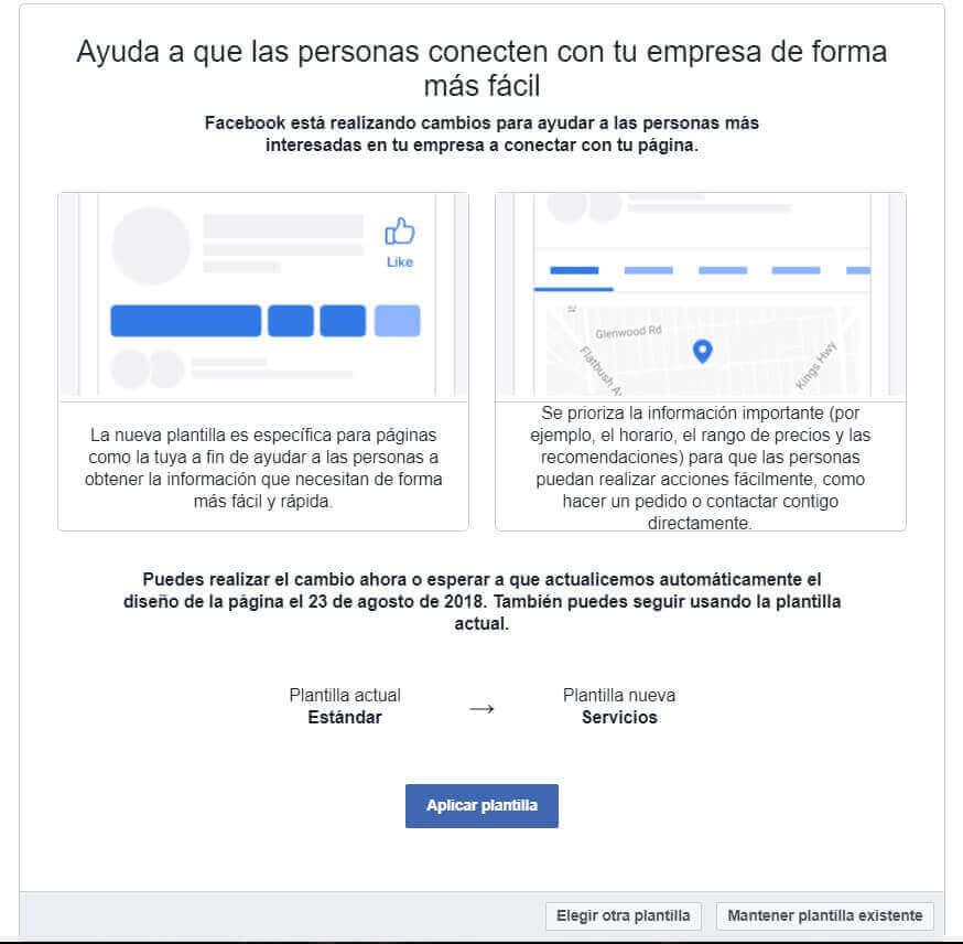 cambio en las plantillas de Facebook