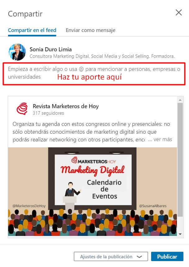 compartir publiacion en Linkedin