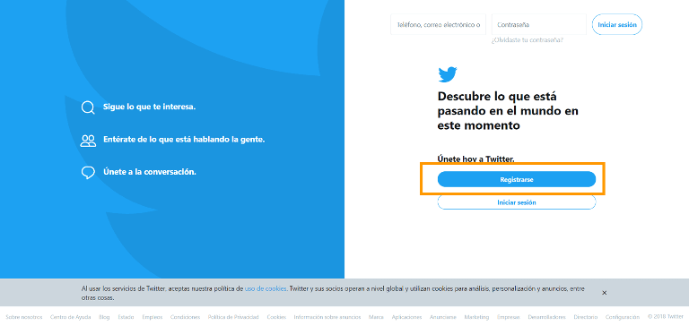 crear cuenta twitter paso 1