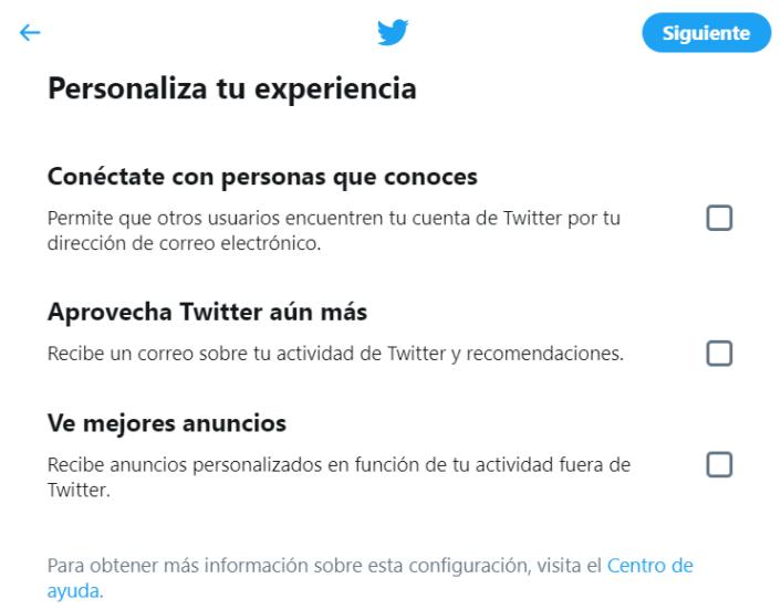 crear cuenta twitter paso 3
