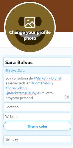 crear cuenta twitter bio