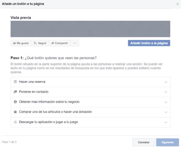 crear pagina facebook para empresa boton