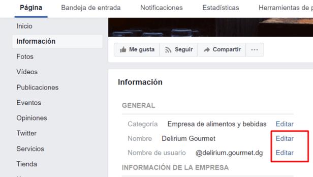 crear pagina de facebook para empresa mostrar cambiar nombre