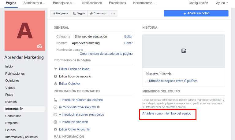 crear pagina de facebook para empresa informacion