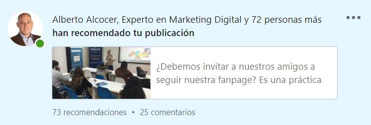 estadisticas linkedin notificacion perfil personal