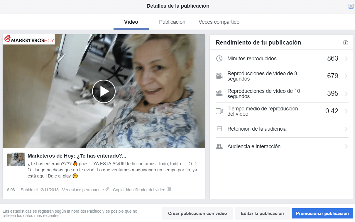 estadisticas facebook insights detalle video