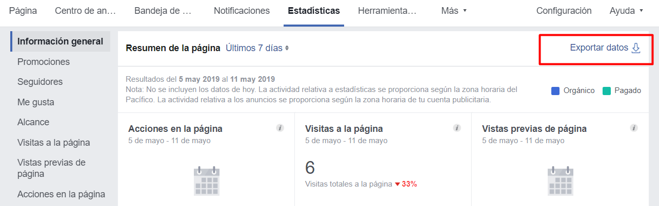 estadisticas facebook insights exportar datos