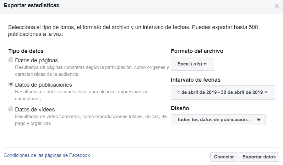 estadisticas facebook insights exportar
