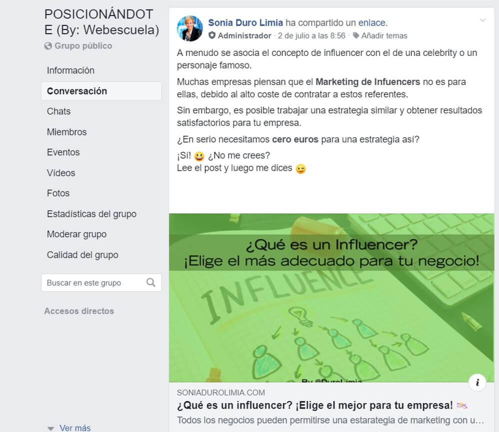 promocionar un blog en grupos de Facebook