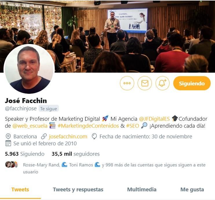perfil de facchin en twitter