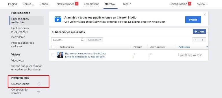 acceso a creator studio de facebook