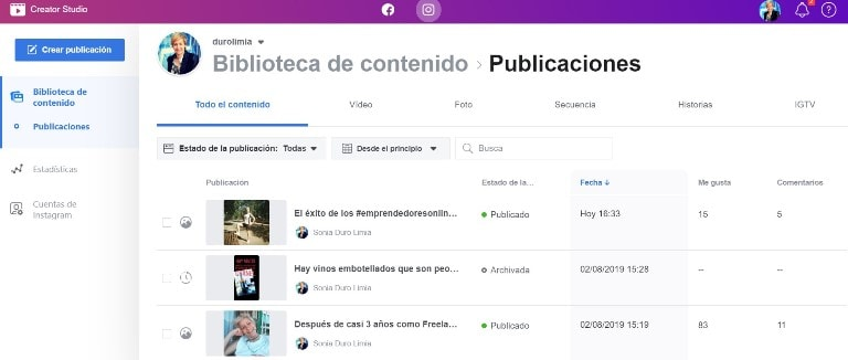 biblioteca de contenidos de instagram