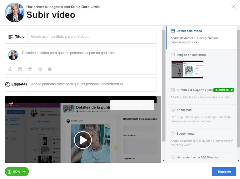 subir video a facebook con creator studio 2