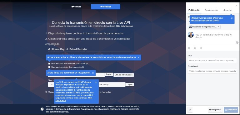 transmitir videos en facebook