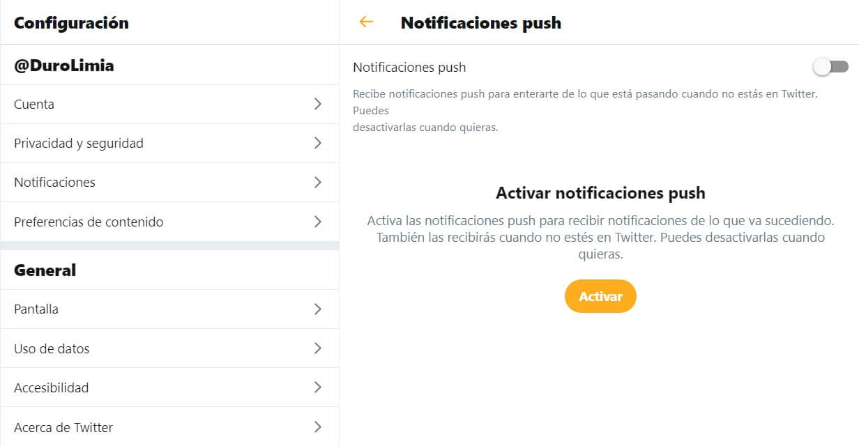 notificaciones push twitter