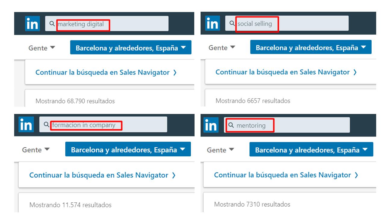 buscar keywords en linkedin