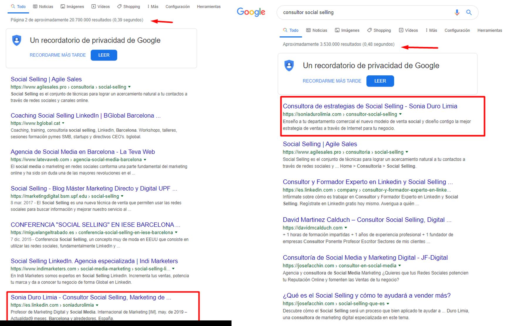el poder de linkedin en google
