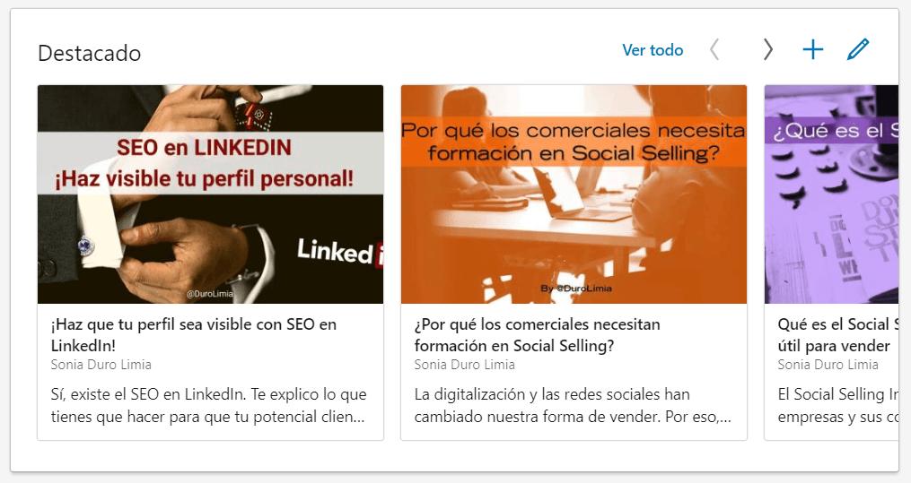 contenido multimedia en perfil de linkedin