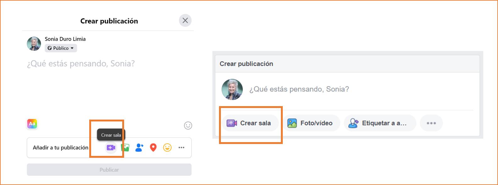 como crear una sala de facebook desde el perfil personal paso 1