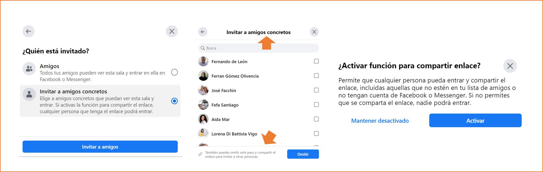 como crear una sala de facebook desde el perfil personal paso 4