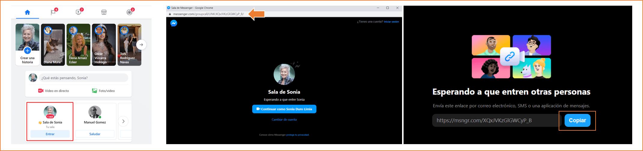 como crear una sala de facebook desde el perfil personal paso 6