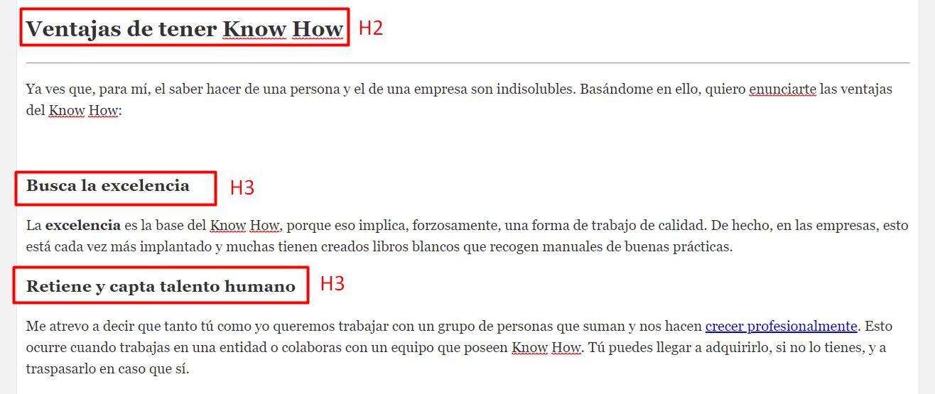 redaccion seo h2 h3